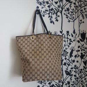 AUTHENTIC GUCCI CANVAS BROWN TOTE